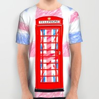 British Flair - Classic Red Telephone Box & Union Jack All Over Print Shirt by Mark E Tisdale