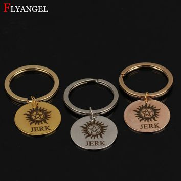 Fashion Hand Stamped Supernatural JERK Jewelry Men Women Keyring Stainless Steel Keychain Couples Boyfriend Girlfriend Gift DIY
