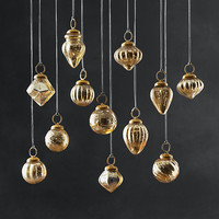 Mini Vintage Hand-Blown Glass Ornament Set of 12 - Gold