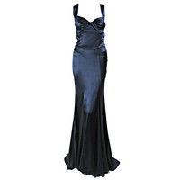 Versace Midnight Blue Silk Gown with Godet Inserts in Skirt