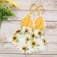 Baby Baby Girl Lace Trim Backless Sunflower Romper at PatPat.com