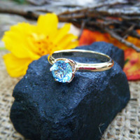 SKY BLUE TOPAZ set in solid gold ring, 9K gold, beautiful cocktail or fashion ring, alternative engagement ring