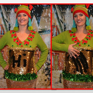 Medium, color changing sequins bling, write on it to make your own design, Party Sweater, Ugly Christmas Sweater, vest, one of a kind, women
