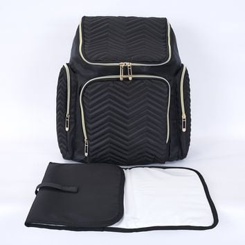 Textured Chevron Baby Diaper Bag, Waterproof with Changing Mat, Pockets, and Stroller Straps, Black