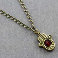 Hamsa Hand Necklace : Antique Gold Bronze Hamsa Hand Necklace with Red Swarovski Crystal Accent, Yoga, Zen, Relaxation, Evil Eye