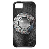 Retro Rotary Phone Dial On Vintage Black Leather