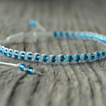 Blue and white beaded macrame bracelet. Beach chic surfer girl waterproof bracelet.