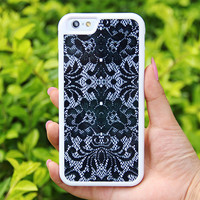 Black Lace Floral iPhone 6/6plus/5S/5/5C/4S/4 Tough Case,Samsung Galaxy S5/S3/S3/Note 3 Silicone Rubber Case