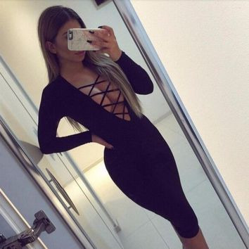 Sexy Criss Cross Cut Out Cleavage Bandage Fall Dress