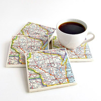 Wisconsin Map Coasters / Wisconsin Coasters / Hostess Gift Ideas / Gifts for Dad / Gifts Under 50 / Gifts for Him / Wisconsin Gift Ideas