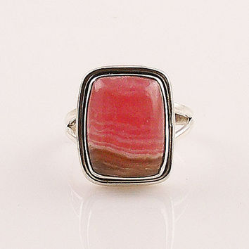 Rhodochrosite Sterling Silver Ring- keja jewelry