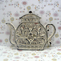 Teapot Cast Iron Trivet Hot Plate Creamy Off White Shabby Elegance Ornate Heart Center Bistro Cafe Kitchen Country Chic Coffee Bar Decor