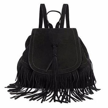 Fringe Suede Backpack
