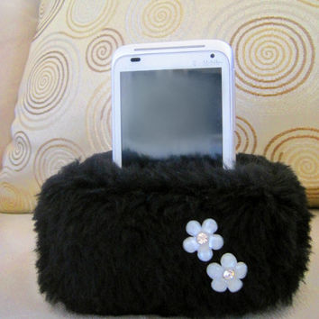 Plush Cell Phone, iPhone Holder Pouch Stand - Black with Flowers