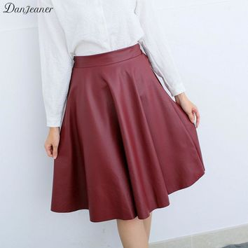 Danjeaner Women Autumn Winter Vintage High Waist PU Leather Skirts Female Casual Knee-Length Elastic Waist Midi Skirts