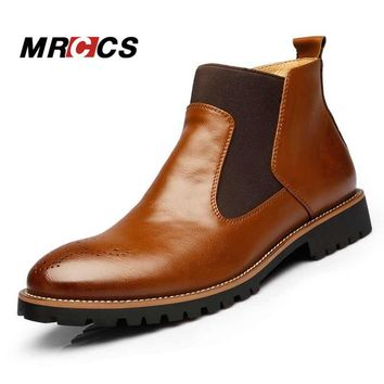 MRCCS Spring/Autumn Fashion Men's Chelsea Boots,British Style Fashion Ankle Boots,Blac