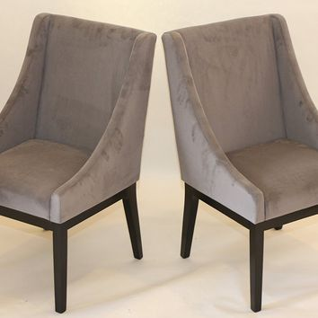 New Century® Set of 2 Contemporary Gray Microfiber Accent Chairs