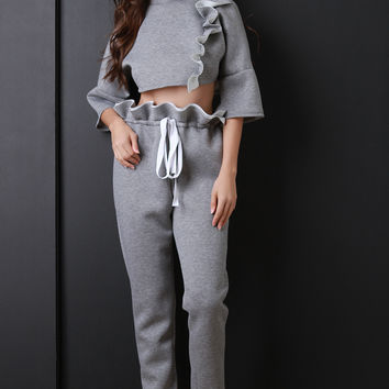 Crop Top With Ruffle Pants Set | UrbanOG