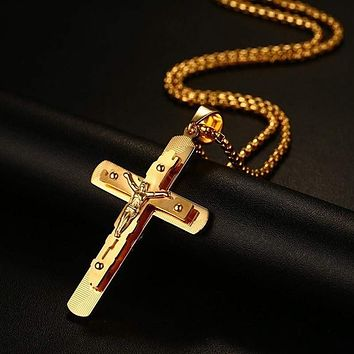 Men's Gold Plated Stainless Steel Crucifix Cross Necklace Pendant, Cross for Man