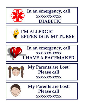 Temporary Travel Tattoos, Emergency Medical Alert, Diabetic, Bee Sting, Pacemaker, Kid Safety