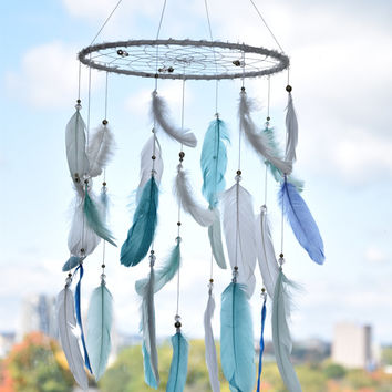 Baby Boy Dreamcatcher Mobile, Blue Mint White Feathers Mobile, Baby Boy Bohemian Nursery Decor