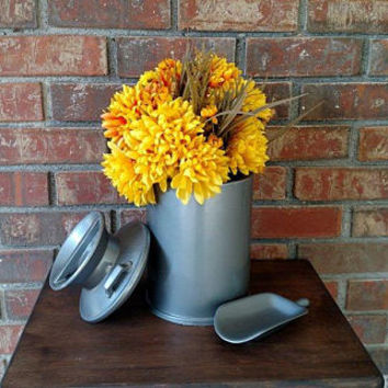 Vintage Milk Jug Centerpiece - Rustic Country Wedding Centerpiece - Farmhouse Milk Jug Utensil Holder - Housewarming Gift