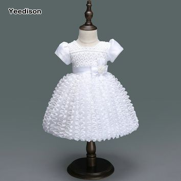 Yeedison Baby Girl Wedding Dress Princess Infant Girl 1 Year Birthday Party Dress Newborn Christening Gowns Tutu Dress