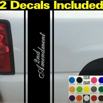 2nd Amendment Script Pin Stripes Truck Bed Stripe Decal Sticker 4x4 Diesel Truck SUV