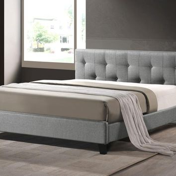 Baxton Studio Annette Gray Linen Modern Bed with Upholstered Headboard - Full Size Set of 1