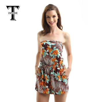T-Inside Women Jumpsuit Sexy Shoulderless with Shorts Floral Print Patterns Stylish Wear Women Summer Rompers Brand New