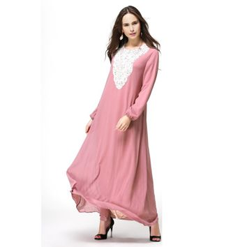 Kaftan Jilbab Islamic Muslim Abaya Women Chiffon Maxi Long Sleeve Dress New