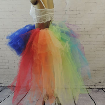 Adult high low rainbow sky tutu, Gay Pride tutu,edc rainbow high low tutu, gogo dancer,edc raver tutu, Somewhere over the rainbow