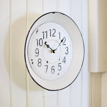 Black and White Enamelware Round Clock