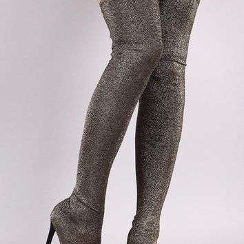 Liliana Glitter Knit Pointy Toe Stiletto Over-The-Knee Boots