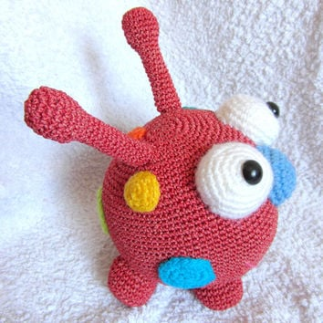 Monster Toy, Crochet Funny and Cute Monster, Stuffed doll, Red Monster