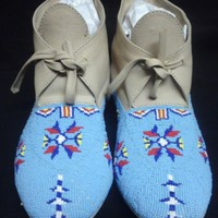 Native American Style Custom Beaded Moccasins Leather Turquoise Flowers