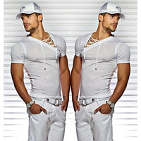 Men's Sexy V-neck Bandages Short Sleeve Pure Color Slim Fit Sheer Casual Cotton T-shirt WZK3008 [8833443212]