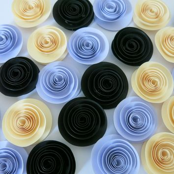 "Ivory, pastel purple, and black paper flowers, 24 piece set, 1.5"" lilac roses, girl nursery decor, table top accent, elderly gift, happy little floral art"