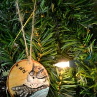 Sleeping Owl and Candle Birch wood Ornament Christmas Holidays