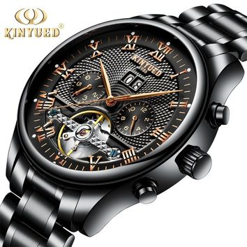 Mens Luxury Stainless Steel Automatic Calendar Tourbillon Watches Sapphire Waterproof Mechanical Skeleton Black Watch