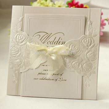 50pcs Laser Cut Embossed Rose Flower Wedding Invitation Wedding Invite Card Party Centerpieces Favor Decoration