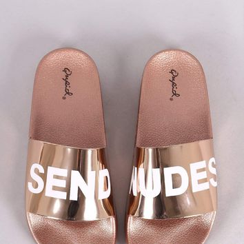 Qupid Send Nudes Metallic Slide
