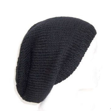 Black wool hand knitted slouchy beanie hat for men or women  5224