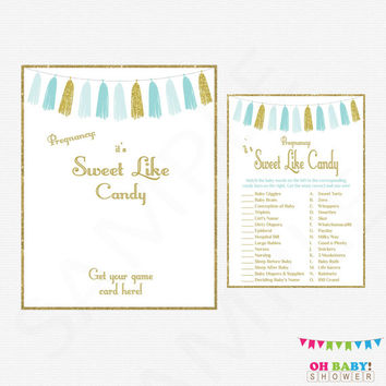 Blue and Gold Baby Shower Games, It's Sweet Like Candy Game + Sign, Printable Baby Game, Baby Guessing Game, Boy Baby Shower, Tassels TASBG