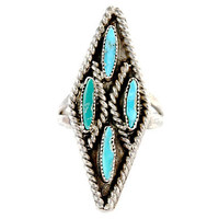 Zuni Needlepoint Turquoise Ring Sterling Silver
