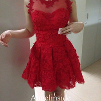 Lace Homecoming Dress, Red Homecoming Dress, Short Homecoming Dress, Cute Homecoming Dress, Sheer Lace Homecoming Dress/Party Dress, ai031