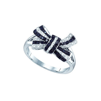 10kt White Gold Womens Round Black Colored Diamond Bow Ribbon Cluster Ring 1/4 Cttw 71535