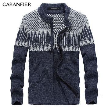 CARANFIER Winter Men Knitted Cardigan Sweater Male Cotton Casual Sweater Turtleneck O-Neck Slim Fit Men Leisure Christmas Style