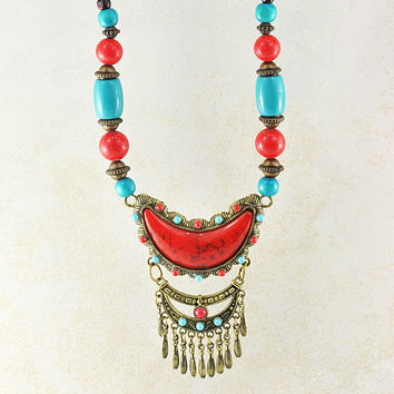 Crescent Moon Turquoise and Coral Statement Necklace