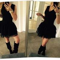 Black Sleeveless Tutu Dress